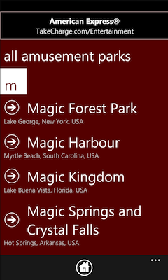 amusement park search